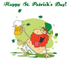 Happy St Patrick's Day Greeting Of A Tipsy Leprechaun