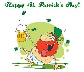 Happy St Patrick's Day Greeting Of A Tipsy Leprechaun