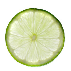 Green lime with slice isolated  on white