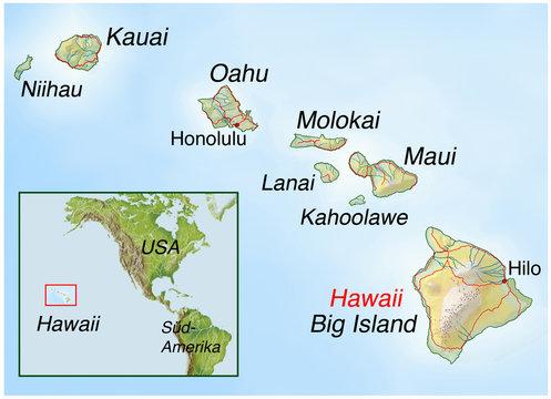 Landkarte von den Hawaii-Inseln