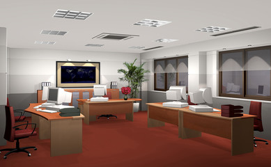 3D render of an office