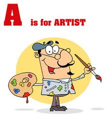 Funny Cartoons Alphabet with Text-A