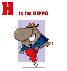 Funny Cartoons Alphabet with Text-H