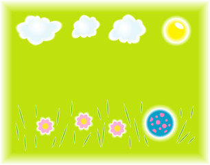 Vector illustration of grass with flowers .and ball