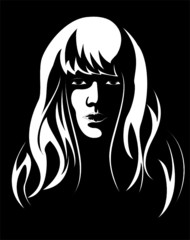 Vector. A series of images of young and beautiful girls.