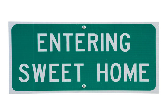Genuine road sign for Sweet Home town in rural America