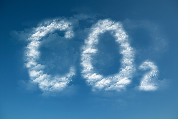 Clouds form a CO2 symbol - global warming