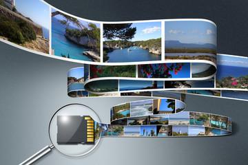SD Karte im Fokus mit Bildband