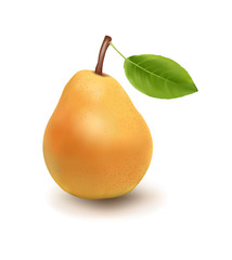 Yellow Pear With Green Leave On A White Background