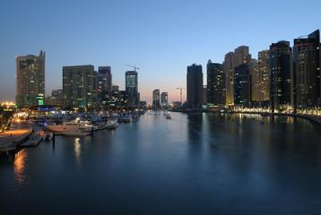 Dubai Marina at dusk. United Arab Emirates