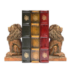 Lion Bookends and Books