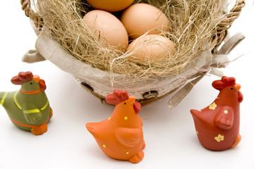 Hühner mit Eier