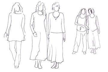 Skizze: fünf Frauen