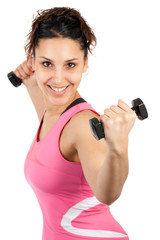 woman lifting dumbells