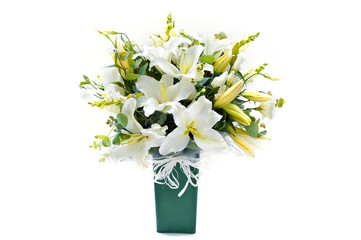 white and yellow lilly bouquet vase on white background