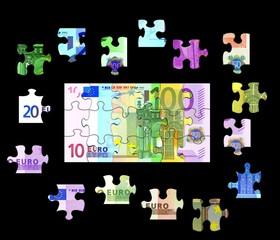 Puzzle verschiedene Euro Banknoten