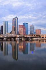 Beautiful blue sunrise sunset and reflections downtown