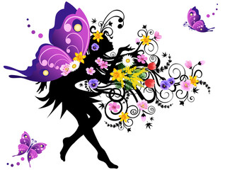Poster Floral woman Spring fairy with colorful wings