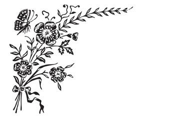 antique flowers corner engraving (vector)