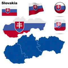 Slovakia  vector set. Shape , flags and icons.