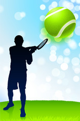 Tennis Player on Lens Flare Nature Background