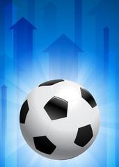 Soccer Ball on Blue Arrow Background