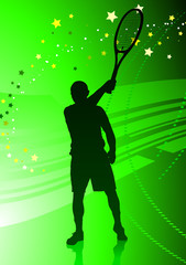 Tennis Player on Abstract Green Background