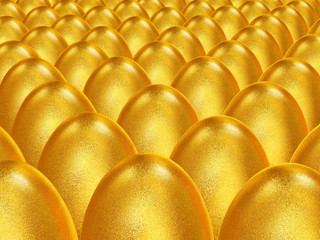 Great number of gold easter eggs