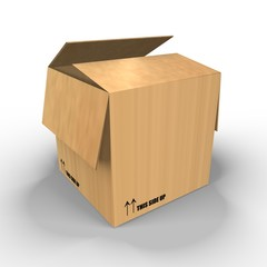 A brown carton box - a 3d image