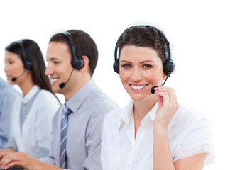 Enthusiastic customer service agents working in a call center