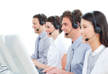 Self-assured customer service agents working in a call center