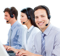 Ambitious customer service agents working in a call center
