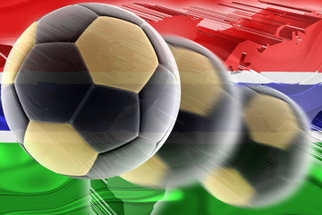 Flag of Gambia wavy soccer
