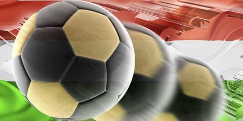 Flag of Hungary wavy soccer