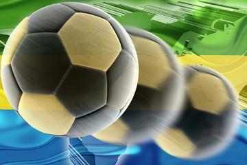 Flag of Gabon wavy soccer