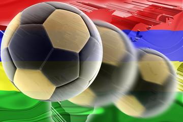 Flag of Mauritius wavy soccer