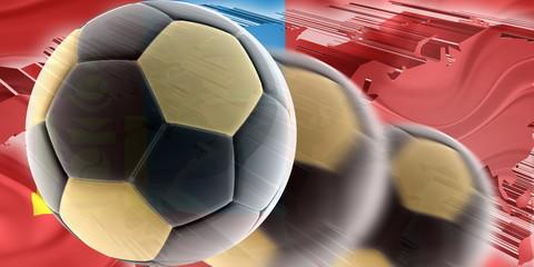 Flag of Mongolia wavy soccer