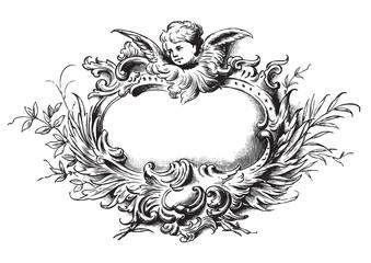antique floral frame engraving (vector)