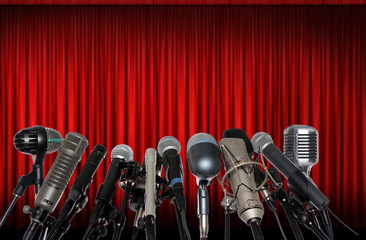 Wall Mural - Microphones in Front of Red Curtain