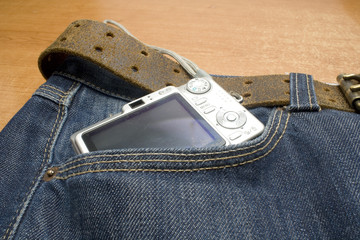 camera in the pocket of a demin jeans