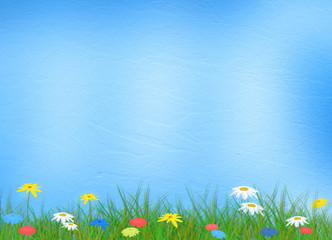 Bright multicolored background  with flowers and grass