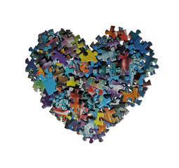 heart made from the puzzle , isolated