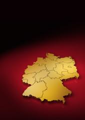 Deutschland Karte in Gold vertikal