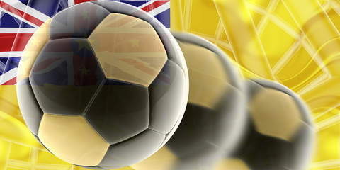 Flag of Niue wavy soccer