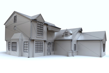 Stately home architecture model with blue sky
