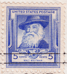 Stamp printed in USA of Walt Whitman