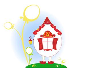 Cartoon Egg house Easter background