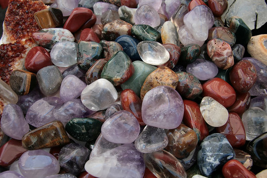 a close up of colorful polished pebbles