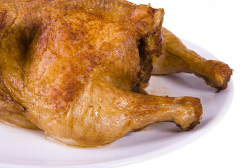 Roasted chicken on plate