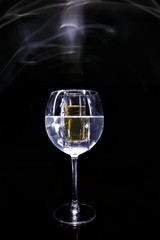 Glass in glass in smoke